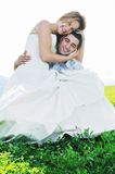 Happy bride and groon outdoor Stock Photos