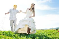 Happy bride and groon outdoor Royalty Free Stock Images