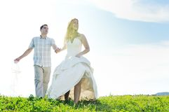 Happy bride and groon outdoor Stock Image