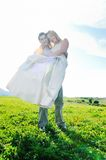Happy bride and groon outdoor Stock Images