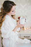 Happy bride having her wedding preparations Royalty Free Stock Image