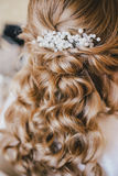 Happy bride having her wedding preparations. Wedding hairstyle Stock Photos