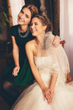 Happy bride and her sister Stock Photography