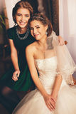 Happy bride and her smiling sister Royalty Free Stock Photography