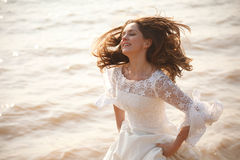 Happy running bride Stock Photo