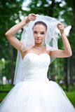Happy bride lifts veil Stock Image