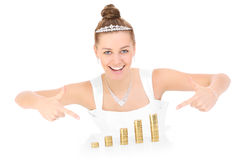 Happy bride with money Royalty Free Stock Photo