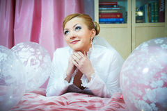 Happy bride with pink ballons Royalty Free Stock Photography