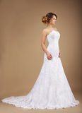 Happy Bride posing in Long Dress. Elegance. Young Graceful Newlywed in Long Dress Stock Image