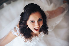 Happy bride smiling, beautiful eye, hair makeup. Royalty Free Stock Photo
