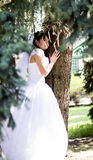 Happy Bride smiling near summer tree outdoors Stock Photography