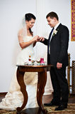 Happy bride wears golden ring to the groom Royalty Free Stock Image