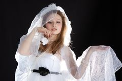 Happy bride on wedding. Stock Photo