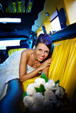 Happy bride with wedding bouquet Royalty Free Stock Photos