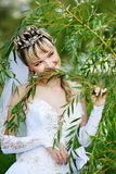 Happy bride in wedding dress Royalty Free Stock Images
