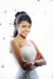 Happy bride in wedding dress Stock Images