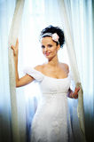 Happy bride in wedding dress Stock Image