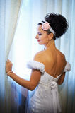 Happy bride in wedding dress Royalty Free Stock Photography