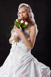 Happy bride in a wedding dress Royalty Free Stock Image