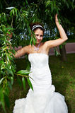 Happy bride in wedding dress and branch of tree royalty free stock image