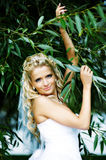 Happy bride in wedding dress and branch of tree Stock Photos
