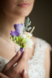 Happy bride in wedding dress with flowers Stock Images