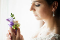 Happy bride in wedding dress with flowers Royalty Free Stock Photos