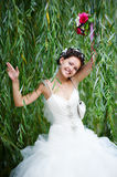 Happy bride on wedding walk Royalty Free Stock Photography