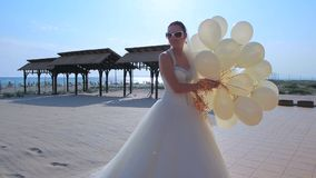 Happy Bride With White Balloons stock video footage