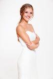 Happy bride in white dress Stock Photos