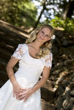 Happy bride in white dress Royalty Free Stock Image