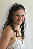 Happy bride in white dress Stock Images