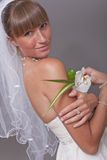 Happy Bride With Flower Stock Photo