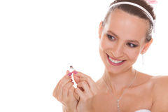 Happy bride woman admiring engagement ring. Royalty Free Stock Image