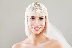 Happy Bride Woman. Beautiful Blonde Fashion Model Stock Photos