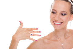 Happy bride woman with engagement ring on finger. Royalty Free Stock Images