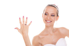 Happy bride woman with engagement ring on finger. Royalty Free Stock Photo