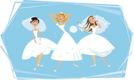Happy brides. Three young brides enjoying themselves Royalty Free Illustration