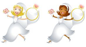 Happy Brides With Big Rings. An illustration featuring a couple of happy brides leaping through the air holding bouquet and large rings Stock Images