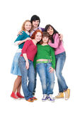 Happy and bright five friends Stock Photo