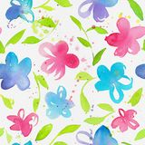 Happy and bright floral seamless pattern with hand drawn watercolor flowers and leaves royalty free illustration