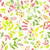 Happy and bright floral seamless pattern with hand drawn watercolor flowers and leaves Royalty Free Stock Photography