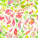 Happy and bright floral seamless pattern with hand drawn watercolor flowers and leaves Royalty Free Stock Photo