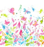 Happy and bright floral seamless pattern with hand drawn watercolor flowers and leaves. Happy and bright floral seamless pattern with hand drawn watercolor Stock Images