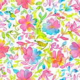 Happy and bright floral seamless pattern with hand drawn watercolor flowers and leaves stock illustration