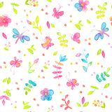 Happy and bright floral seamless pattern with hand drawn watercolor flowers and leaves Stock Photo