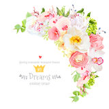 Happy bright floral vector frame with spring flowers. Royalty Free Stock Photos