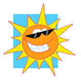 Happy bright sun character Stock Image