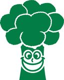 Happy Broccoli with smiling face. Vector royalty free illustration