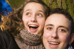 Happy brother and sister Stock Photo